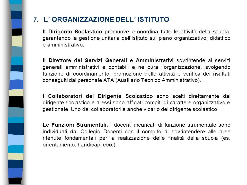 7. L ORGANIZZAZIONE DELL ISTITUTO Il Dirigente Scolastico promuove e coordina tutte le attività della scuola, garantendo la gestione unitaria dellIsti