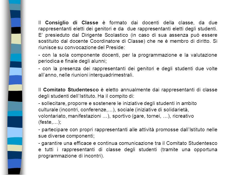 Il Consiglio di Classe è formato dai docenti della classe, da due rappresentanti eletti dei genitori e da due rappresentanti eletti degli studenti. E