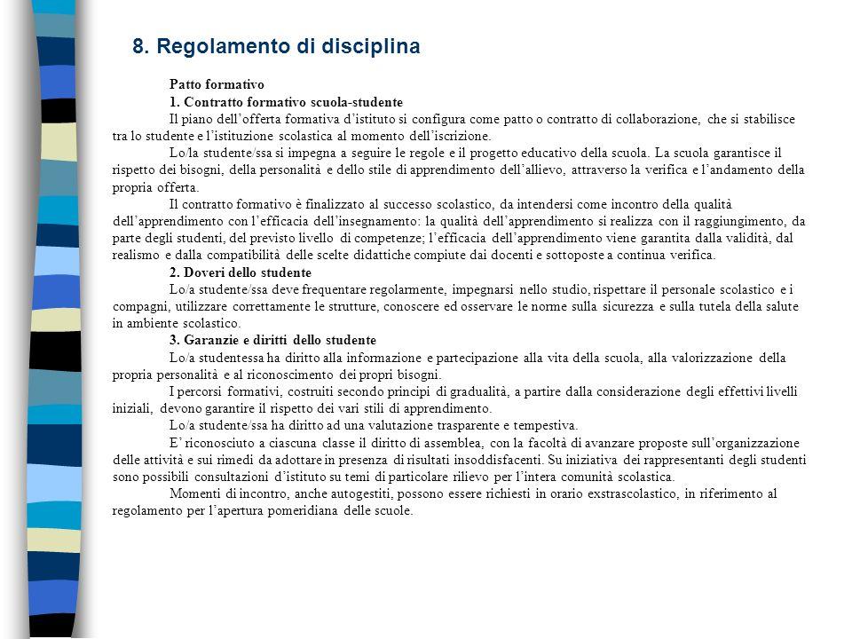 8. Regolamento di disciplina Patto formativo 1. Contratto formativo scuola-studente Il piano dellofferta formativa distituto si configura come patto o