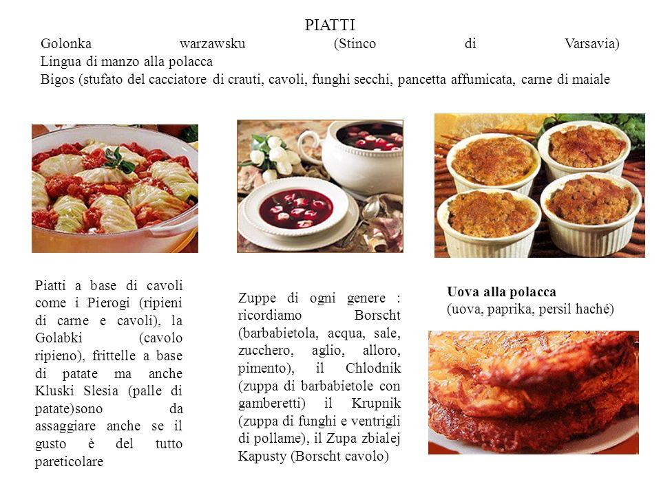 PIATTI Golonka warzawsku (Stinco di Varsavia) Lingua di manzo alla polacca Bigos (stufato del cacciatore di crauti, cavoli, funghi secchi, pancetta af