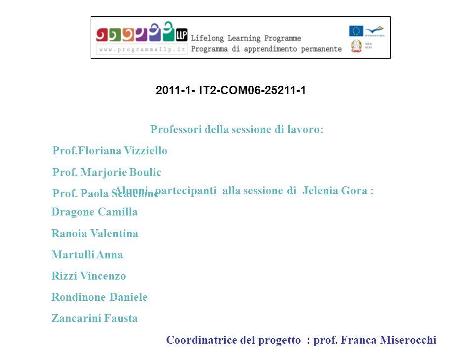 Professori della sessione di lavoro: Prof.Floriana Vizziello Prof. Marjorie Boulic Prof. Paola Scalcione Alunni partecipanti alla sessione di Jelenia