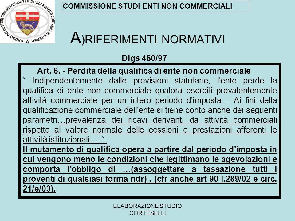 ELABORAZIONE STUDIO CORTESELLI A )RIFERIMENTI NORMATIVI Dlgs 460/97 Art. 6. - Perdita della qualifica di ente non commerciale Indipendentemente dalle