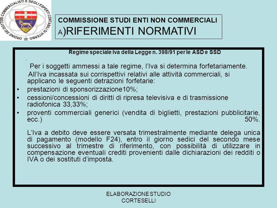 ELABORAZIONE STUDIO CORTESELLI Regime speciale Iva della Legge n. 398/91 per le ASD e SSD. Per i soggetti ammessi a tale regime, lIva si determina for