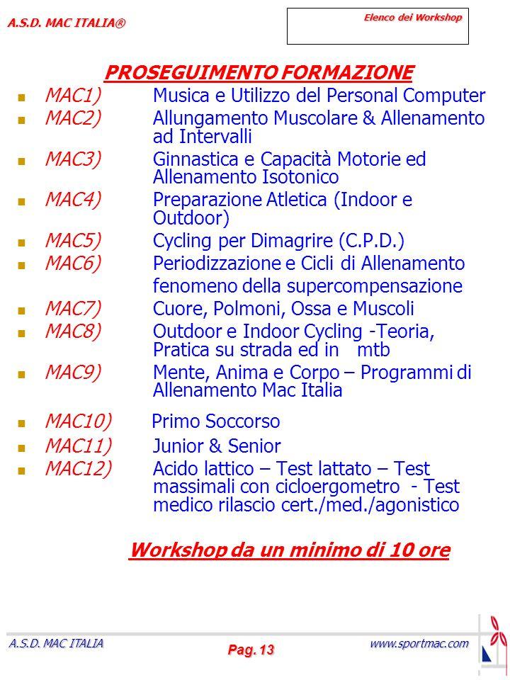 Pag. 13 www.sportmac.com A.S.D. MAC ITALIA A.S.D. MAC ITALIA® Elenco dei Workshop PROSEGUIMENTO FORMAZIONE MAC1)Musica e Utilizzo del Personal Compute