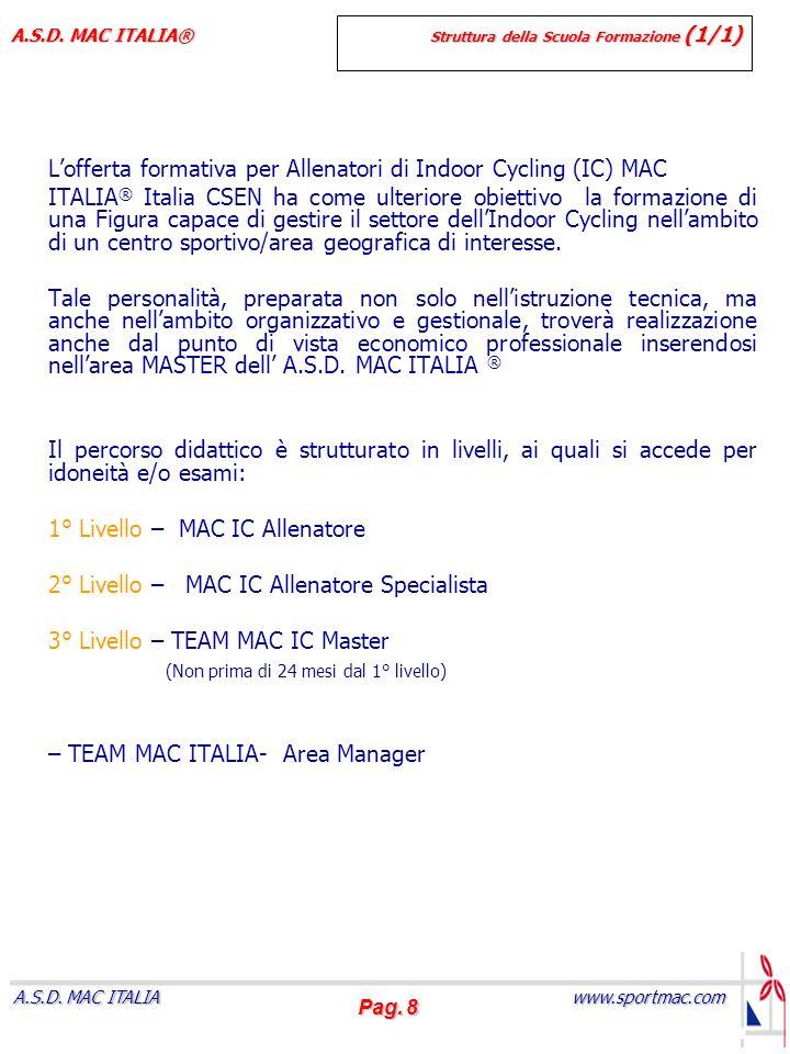 Pag. 8 www.sportmac.com A.S.D. MAC ITALIA A.S.D. MAC ITALIA® Struttura della Scuola Formazione (1/1) Lofferta formativa per Allenatori di Indoor Cycli