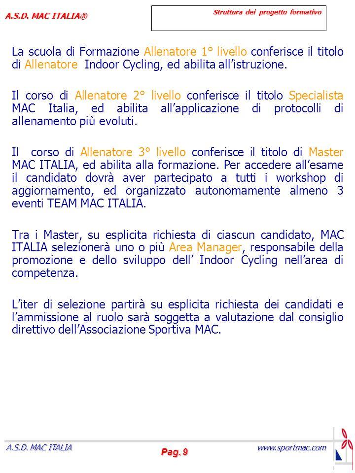 Pag. 9 www.sportmac.com A.S.D. MAC ITALIA A.S.D. MAC ITALIA® Struttura dei progetto formativo La scuola di Formazione Allenatore 1° livello conferisce