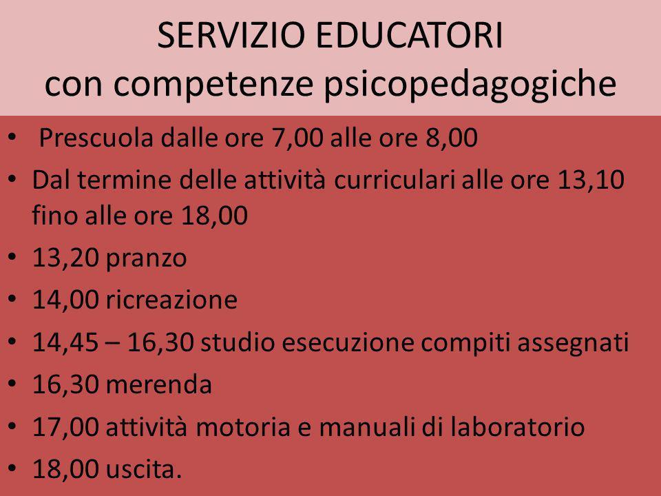 SERVIZIO EDUCATORI con competenze psicopedagogiche Prescuola dalle ore 7,00 alle ore 8,00 Dal termine delle attività curriculari alle ore 13,10 fino a