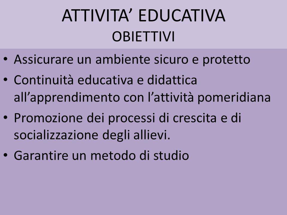 ATTIVITA EDUCATIVA OBIETTIVI Assicurare un ambiente sicuro e protetto Continuità educativa e didattica allapprendimento con lattività pomeridiana Prom