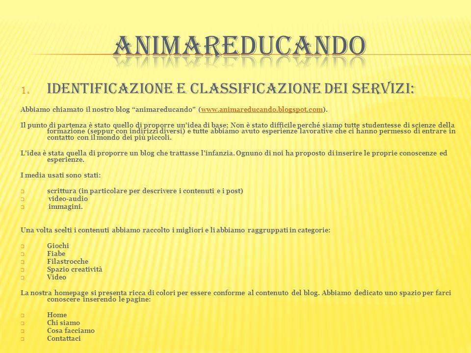 1. Identificazione e classificazione dei servizi: Abbiamo chiamato il nostro blog animareducando (www.animareducando.blogspot.com).www.animareducando.