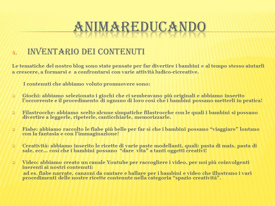 4. Inventario dei contenuti Le tematiche del nostro blog sono state pensate per far divertire i bambini e al tempo stesso aiutarli a crescere, a forma
