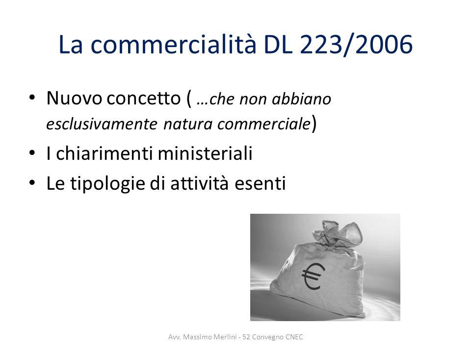 La commercialità DL 223/2006 Nuovo concetto ( …che non abbiano esclusivamente natura commerciale ) I chiarimenti ministeriali Le tipologie di attività