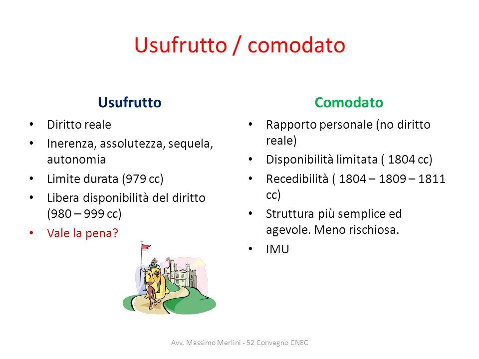 Usufrutto / comodato Usufrutto Diritto reale Inerenza, assolutezza, sequela, autonomia Limite durata (979 cc) Libera disponibilità del diritto (980 –