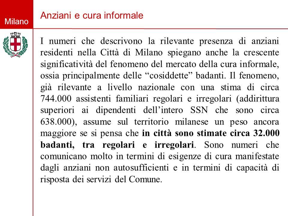 Milano Anziani e cura informale I numeri che descrivono la rilevante presenza di anziani residenti nella Città di Milano spiegano anche la crescente s