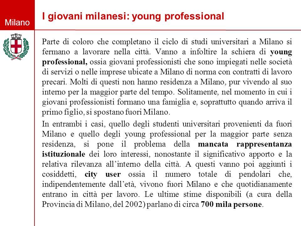 Milano I giovani milanesi: young professional Parte di coloro che completano il ciclo di studi universitari a Milano si fermano a lavorare nella città