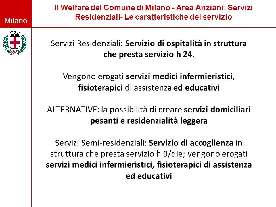 Milano Il Welfare del Comune di Milano - Area Anziani: Servizi Residenziali- Le caratteristiche del servizio Servizi Residenziali: Servizio di ospital