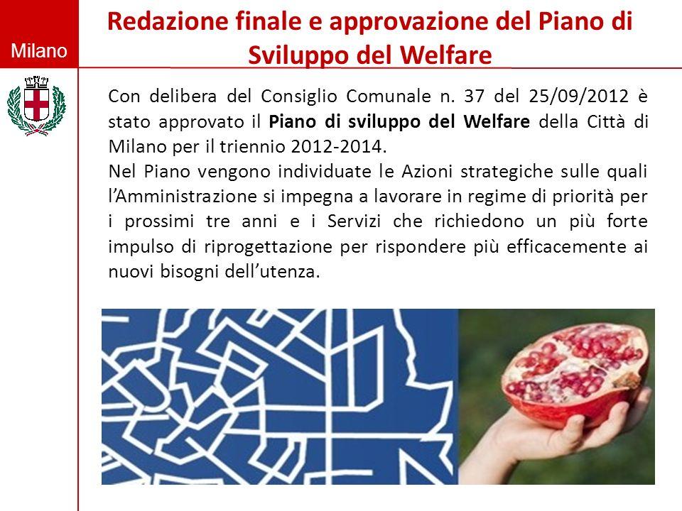 Milano Redazione finale e approvazione del Piano di Sviluppo del Welfare Con delibera del Consiglio Comunale n. 37 del 25/09/2012 è stato approvato il