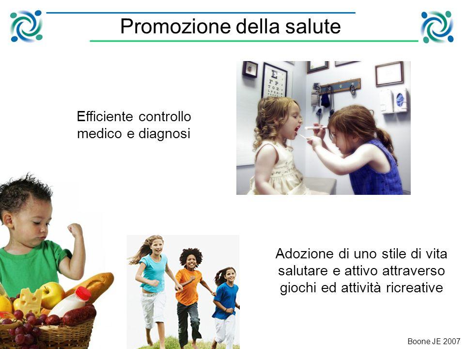 Promozione della salute Boone JE 2007 Efficiente controllo medico e diagnosi Adozione di uno stile di vita salutare e attivo attraverso giochi ed attività ricreative