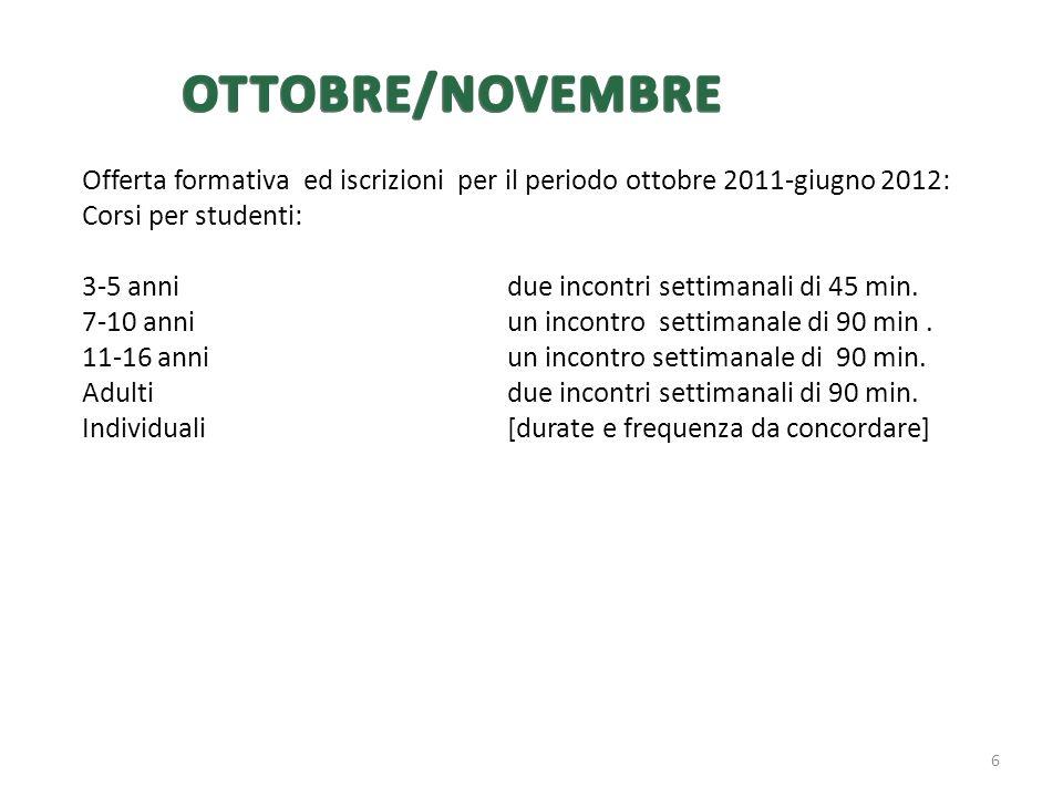 Offerta formativa ed iscrizioni per il periodo ottobre 2011-giugno 2012: Corsi per studenti: 3-5 annidue incontri settimanali di 45 min. 7-10 anni un