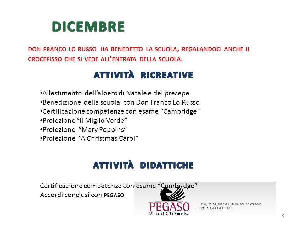 Allestimento dellalbero di Natale e del presepe Benedizione della scuola con Don Franco Lo Russo Certificazione competenze con esame Cambridge Proiezi