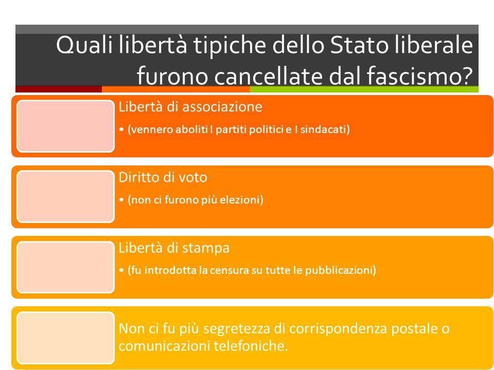 Quali libertà tipiche dello Stato liberale furono cancellate dal fascismo? Libertà di associazione (vennero aboliti I partiti politici e I sindacati)