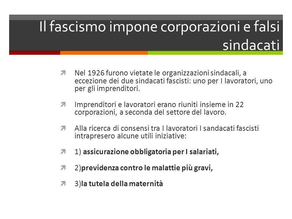 Il fascismo impone corporazioni e falsi sindacati Nel 1926 furono vietate le organizzazioni sindacali, a eccezione dei due sindacati fascisti: uno per