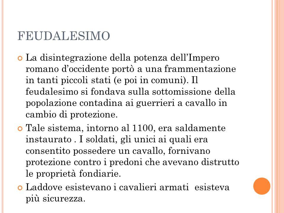 FEUDALESIMO La disintegrazione della potenza dellImpero romano doccidente portò a una frammentazione in tanti piccoli stati (e poi in comuni).