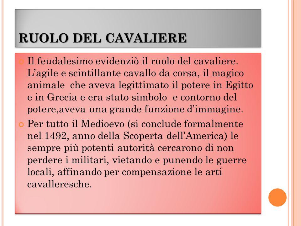 RUOLO DEL CAVALIERE Il feudalesimo evidenziò il ruolo del cavaliere.