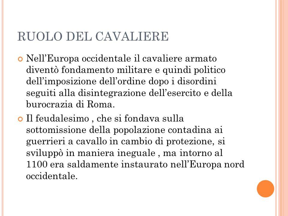 RUOLO DEL CAVALIERE NellEuropa occidentale il cavaliere armato diventò fondamento militare e quindi politico dellimposizione dellordine dopo i disordini seguiti alla disintegrazione dellesercito e della burocrazia di Roma.