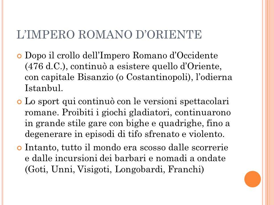 LIMPERO ROMANO DORIENTE Dopo il crollo dellImpero Romano dOccidente (476 d.C.), continuò a esistere quello dOriente, con capitale Bisanzio (o Costantinopoli), lodierna Istanbul.