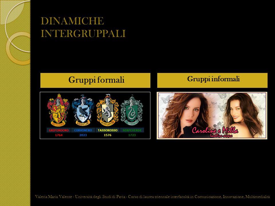 DINAMICHE INTERGRUPPALI Gruppi formali Gruppi informali Valeria Maria Valente - Università degli Studi di Pavia - Corso di laurea triennale interfacol