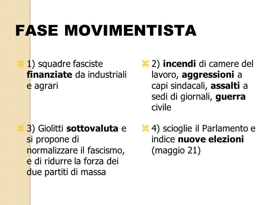 FASE MOVIMENTISTA z1) squadre fasciste finanziate da industriali e agrari z2) incendi di camere del lavoro, aggressioni a capi sindacali, assalti a se