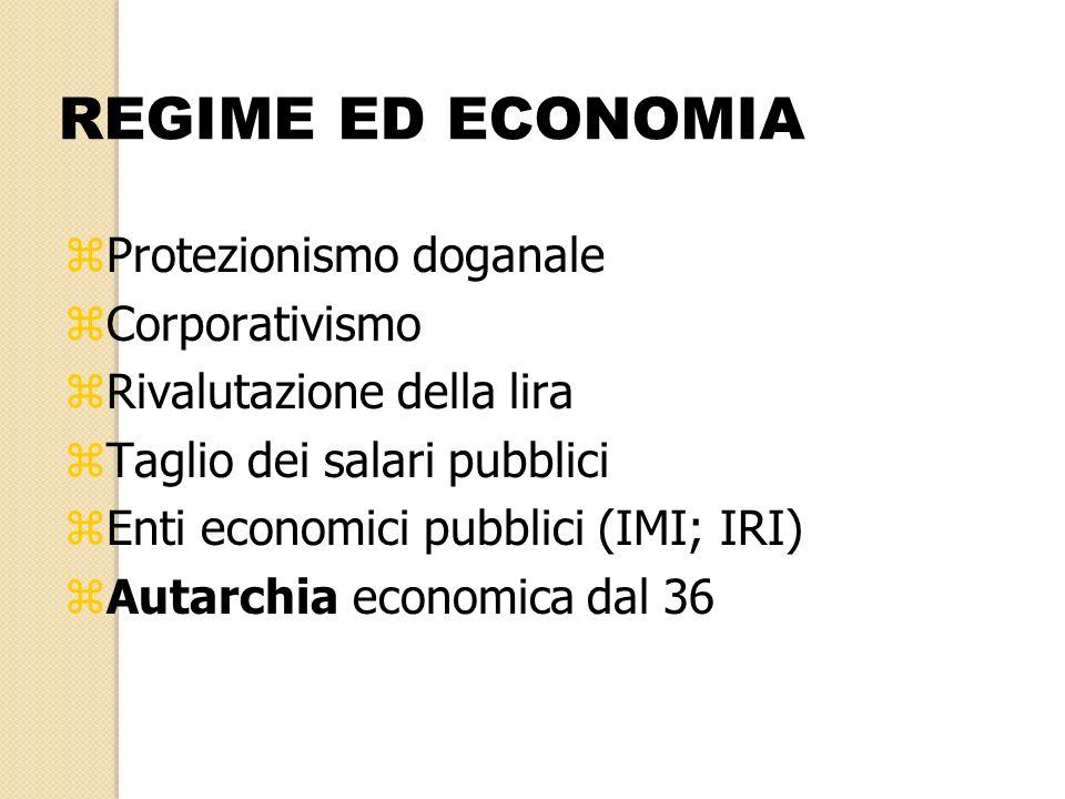 REGIME ED ECONOMIA zProtezionismo doganale zCorporativismo zRivalutazione della lira zTaglio dei salari pubblici zEnti economici pubblici (IMI; IRI) z