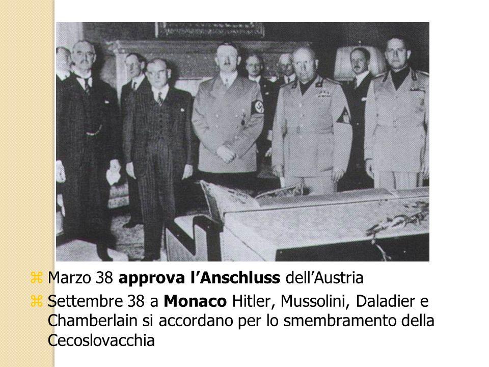 zMarzo 38 approva lAnschluss dellAustria zSettembre 38 a Monaco Hitler, Mussolini, Daladier e Chamberlain si accordano per lo smembramento della Cecos