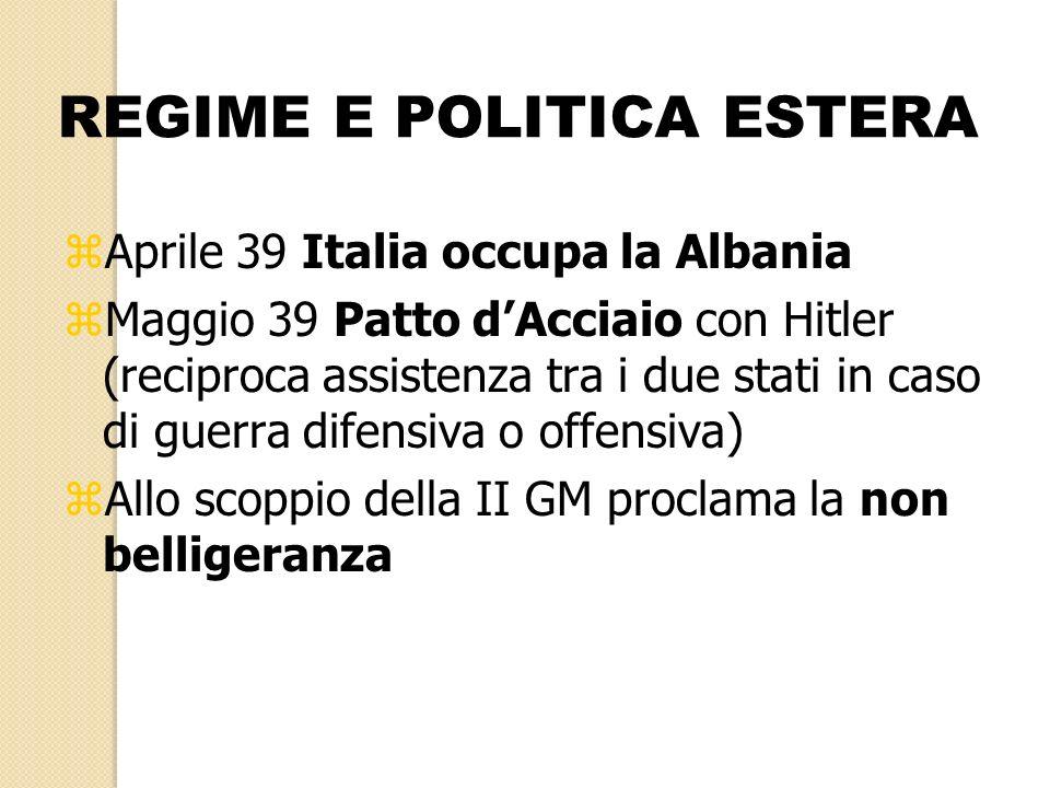 REGIME E POLITICA ESTERA zAprile 39 Italia occupa la Albania zMaggio 39 Patto dAcciaio con Hitler (reciproca assistenza tra i due stati in caso di gue