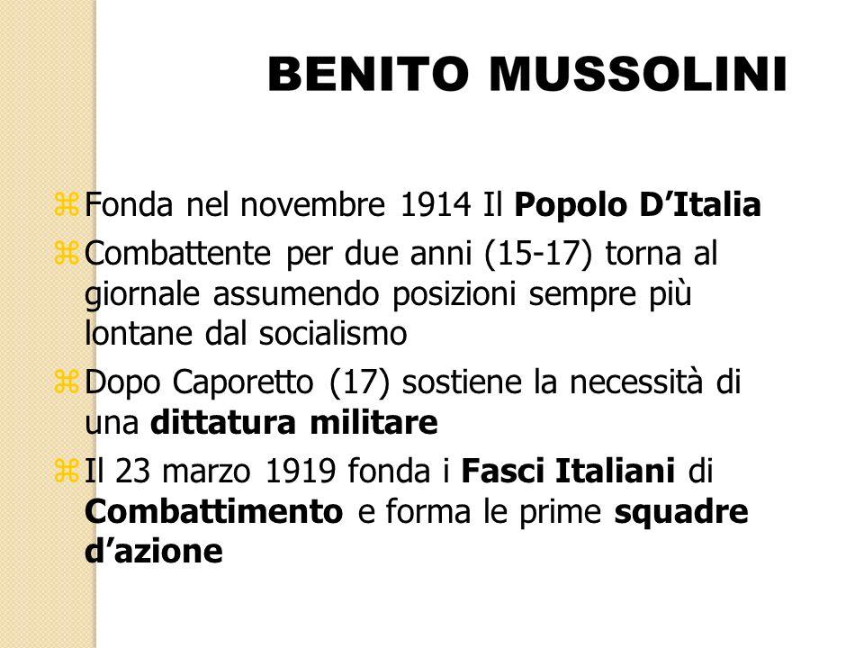 zFonda nel novembre 1914 Il Popolo DItalia zCombattente per due anni (15-17) torna al giornale assumendo posizioni sempre più lontane dal socialismo z
