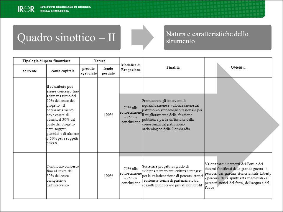 Quadro sinottico – II Natura e caratteristiche dello strumento Tipologia di spesa finanziataNatura Modalità di Erogazione FinalitàObiettivi correnteco