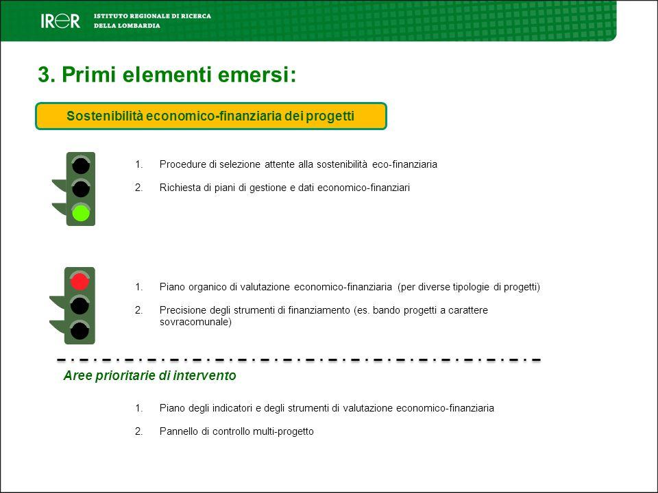 3. Primi elementi emersi: Sostenibilità economico-finanziaria dei progetti 1. Procedure di selezione attente alla sostenibilità eco-finanziaria 2. Ric