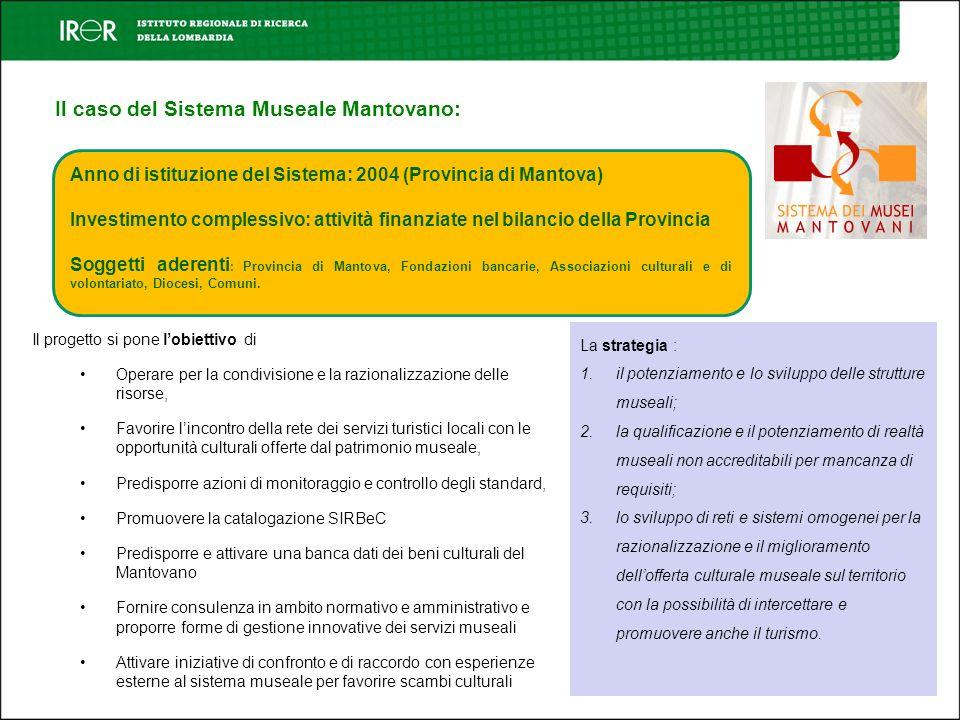 Il caso del Sistema Museale Mantovano: Anno di istituzione del Sistema: 2004 (Provincia di Mantova) Investimento complessivo: attività finanziate nel
