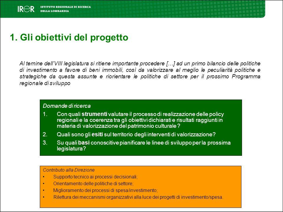 1. Gli obiettivi del progetto Al temine dellVIII legislatura si ritiene importante procedere […] ad un primo bilancio delle politiche di investimento