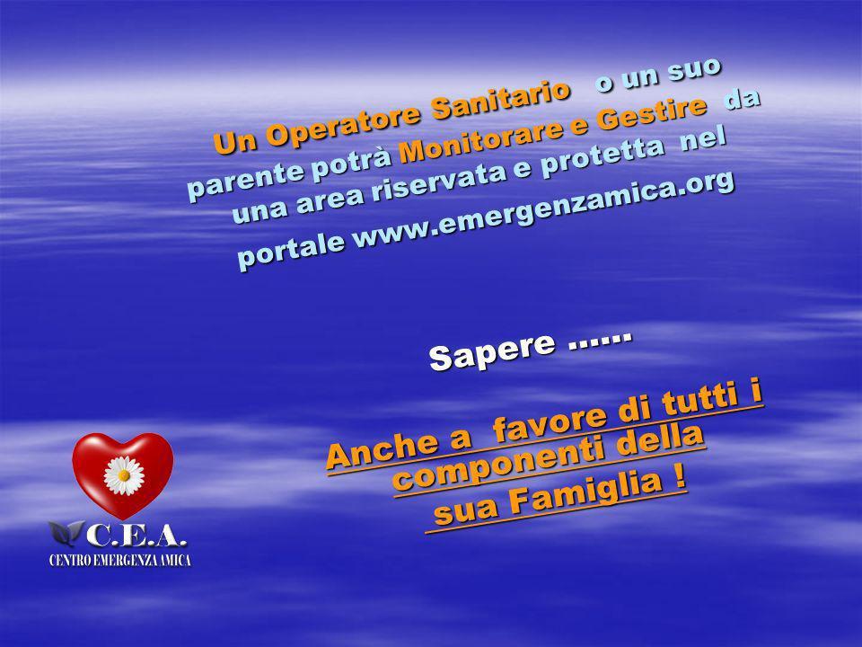 Un Operatore Sanitario o un suo parente potrà Monitorare e Gestire da una area riservata e protetta nel portale www.emergenzamica.org Sapere …… Anche a favore di tutti i componenti della sua Famiglia .