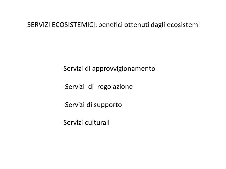 SERVIZI ECOSISTEMICI: benefici ottenuti dagli ecosistemi -Servizi di approvvigionamento -Servizi di regolazione -Servizi di supporto -Servizi cultural