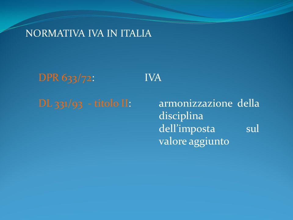 NORMATIVA IVA IN ITALIA DPR 633/72: IVA DL 331/93 - titolo II:armonizzazione della disciplina dellimposta sul valore aggiunto