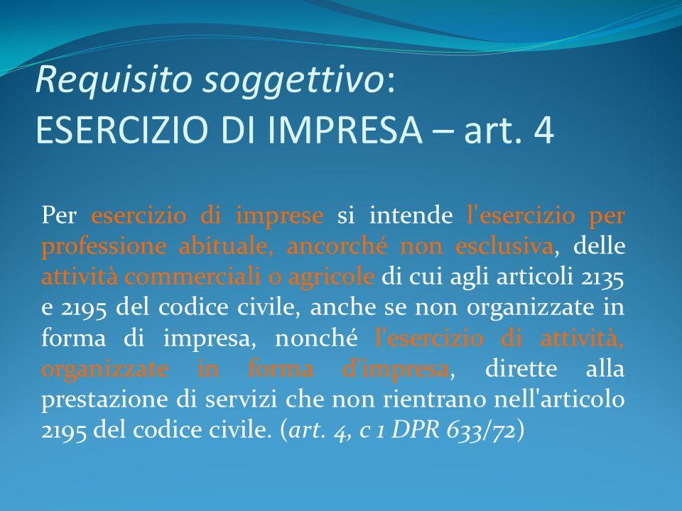 Requisito soggettivo: ESERCIZIO DI IMPRESA – art. 4 Per esercizio di imprese si intende l'esercizio per professione abituale, ancorché non esclusiva,
