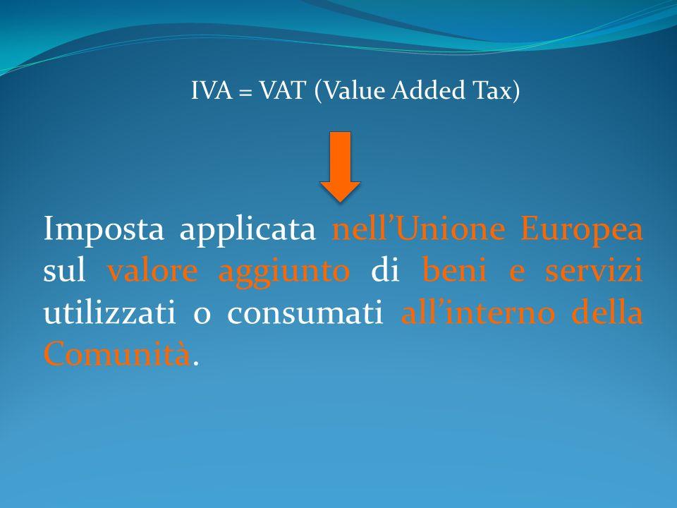 Imposta applicata nellUnione Europea sul valore aggiunto di beni e servizi utilizzati o consumati allinterno della Comunità. IVA = VAT (Value Added Ta