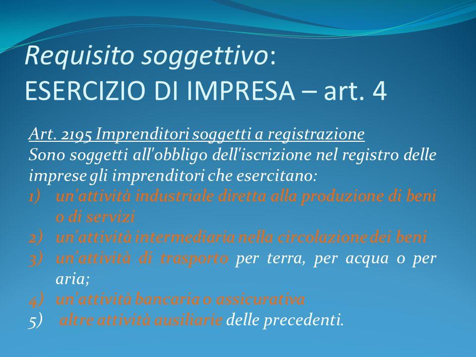 Requisito soggettivo: ESERCIZIO DI IMPRESA – art. 4 Art. 2195 Imprenditori soggetti a registrazione Sono soggetti all'obbligo dell'iscrizione nel regi