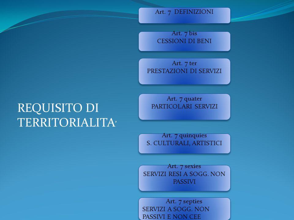Art. 7 DEFINIZIONI Art. 7 bis CESSIONI DI BENI Art. 7 bis CESSIONI DI BENI Art. 7 ter PRESTAZIONI DI SERVIZI Art. 7 ter PRESTAZIONI DI SERVIZI Art. 7