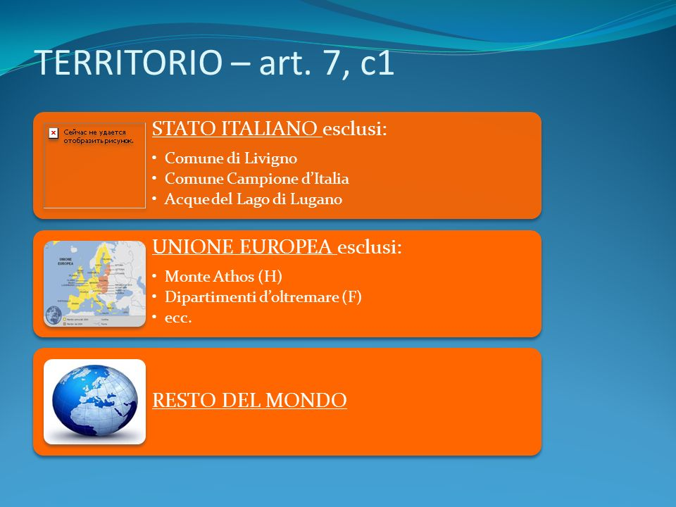 TERRITORIO – art. 7, c1 STATO ITALIANO esclusi: Comune di Livigno Comune Campione dItalia Acque del Lago di Lugano UNIONE EUROPEA esclusi: Monte Athos
