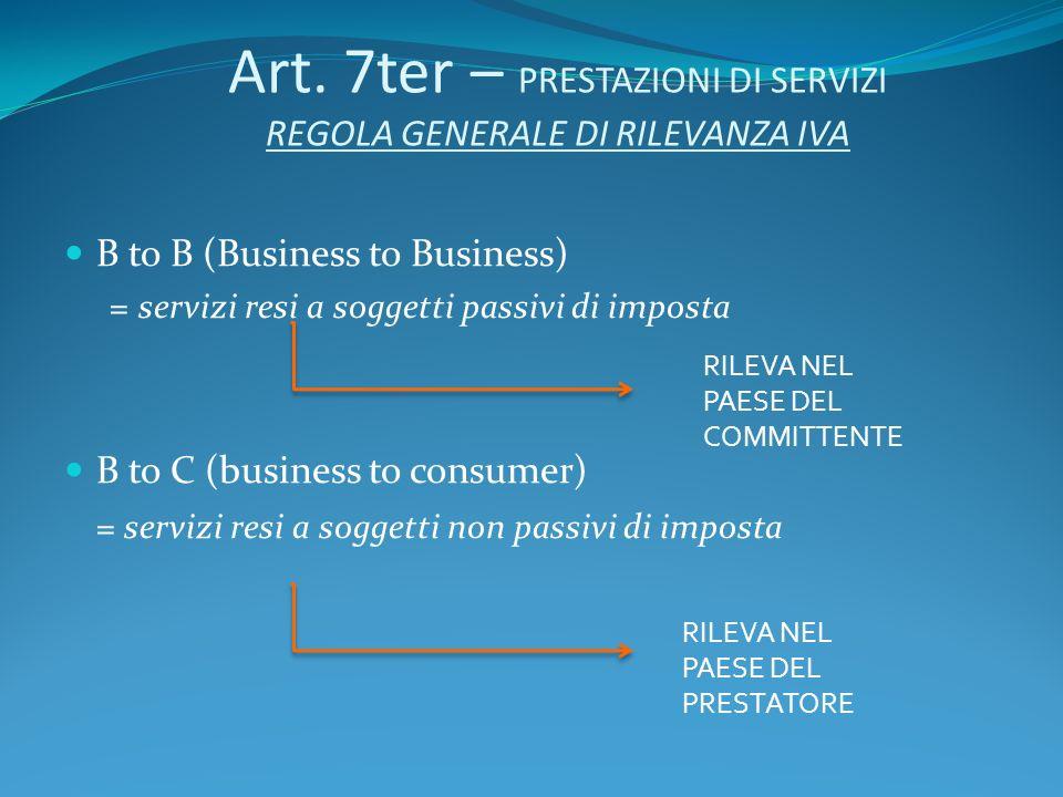 Art. 7ter – PRESTAZIONI DI SERVIZI REGOLA GENERALE DI RILEVANZA IVA B to B (Business to Business) =servizi resi a soggetti passivi di imposta B to C (