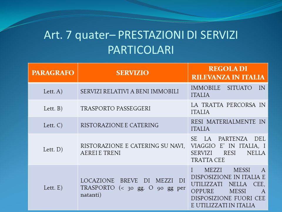 Art. 7 quater– PRESTAZIONI DI SERVIZI PARTICOLARI PARAGRAFOSERVIZIO REGOLA DI RILEVANZA IN ITALIA Lett. A)SERVIZI RELATIVI A BENI IMMOBILI IMMOBILE SI