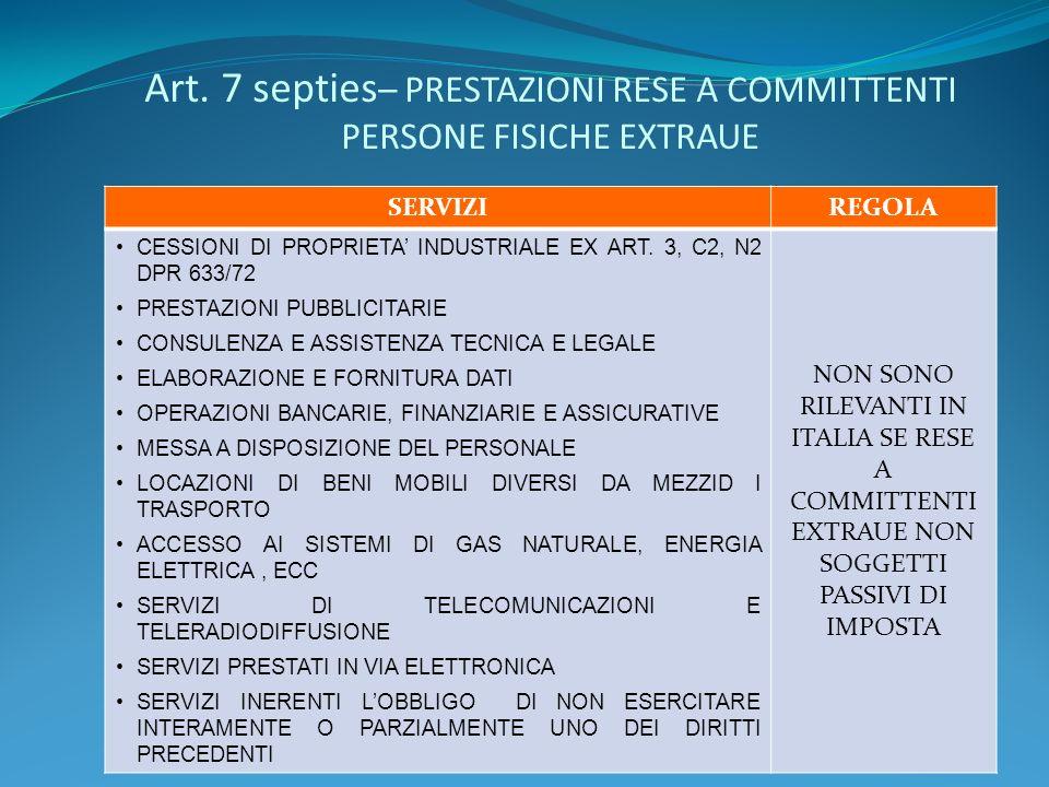 Art. 7 septies – PRESTAZIONI RESE A COMMITTENTI PERSONE FISICHE EXTRAUE SERVIZIREGOLA CESSIONI DI PROPRIETA INDUSTRIALE EX ART. 3, C2, N2 DPR 633/72 P